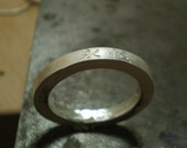 Engraved 3 mm sterling silver band matte finish - Eternity