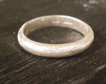 Brushed matte sterling silver wedding band - bridal jewelry