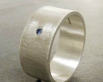 Sterling silver ring with blue Sapphire - large textured silver ring - Silver band for Men - brushed silver ring