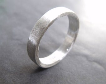 wide Hogart - 4 mm sterling silver ring - brushed silver Jewelry