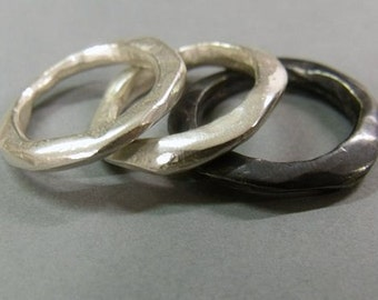 Set of 3 Molten Sterling Silver ring, size 7.5 - O , polished, brushed and black
