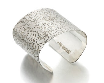 sterling silver Cuff Bracelet with Large Volutes engraved Photo etched floral pattern