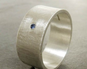 George - large sterling silver ring with blue Sapphire with a brushed silver finish
