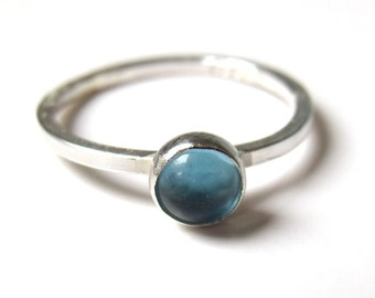 Mini sterling silver Blue Topaz cabochon stacking ring 5mm