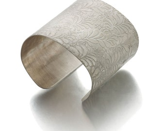 Large Sterling silver Cuff Bracelet with Volutes engraved Photo etched floral pattern as seen in Vogue - large silver cuff