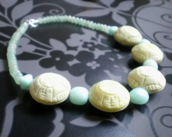 Amazonite and serpentine Choker Necklace - sterling silver 925, heavy statement necklace - aqua blue necklace