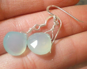 Aqua Blue Chalcedony Earrings with sterling silver, simple drops