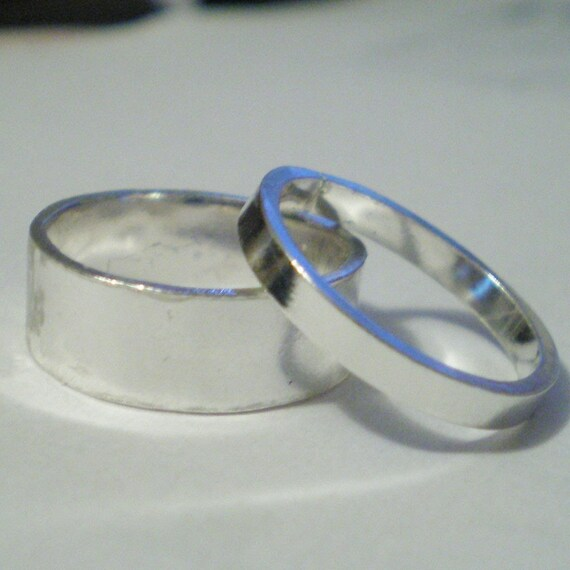 BE MINE - 2 wedding rings - sterling silver bands