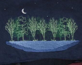 Black Messenger Bag with embroidered river scene