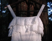 Vintage 1970's White Eyelet Western Fitted Waist Dress with Ruffle Top