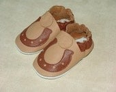 NEW soft sole leather BABY crib shoes brown horse shoes