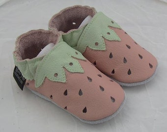 Soft sole leather BABY crib shoes pink strawberries Pick your Size