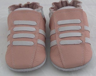 Pick your size  soft sole leather Baby crib shoes pink running