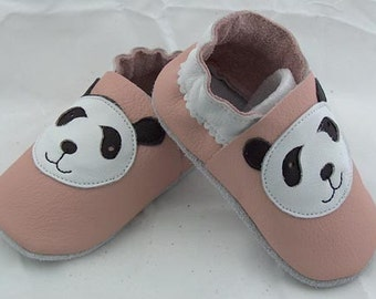 Hand Made, Soft sole, leather pink panda, soft leather, baby shoes, baby slippers, toddler, booties FREE SHIPPING