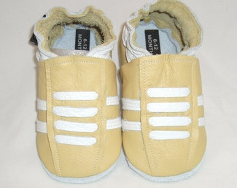 Yellow Running Leather Crib Shoes