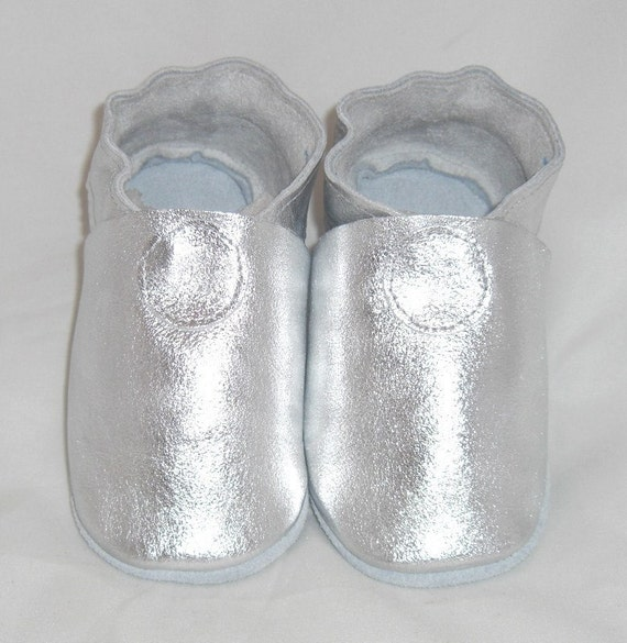 Soft sole leather BABY shoes silver mini toes pick your size