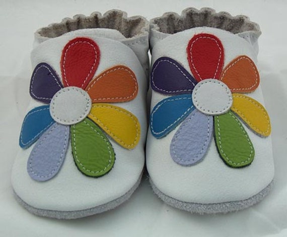 Mini Toes soft sole leather BABY crib shoes Rainbow flower pick your size