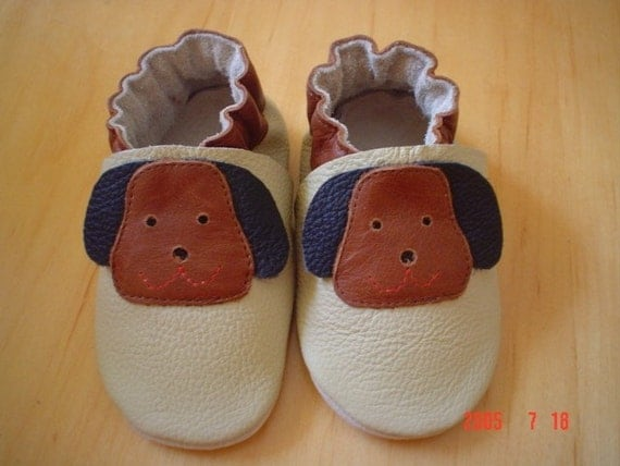 NEW soft sole leather BABY crib shoes puppy