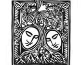 TREE OF SOULS original linocut print