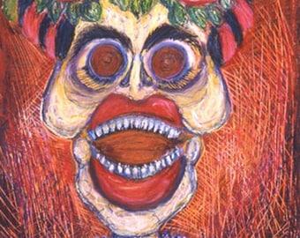 Dia de los Muertos Home Decor Laughing Sleleton Frida Catrina  Original Oil Pastel Framed Drawing