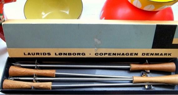 Box of four (4) Laurids Lønborg teak Fondue Forks, made in Denmark