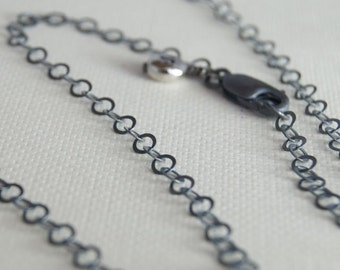 20 Inch ROUND Link Oxidized Sterling Silver Chain