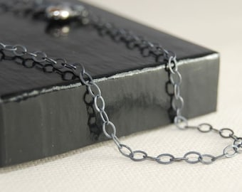 16 Inch OVAL Link Oxidized Sterling Silver Chain
