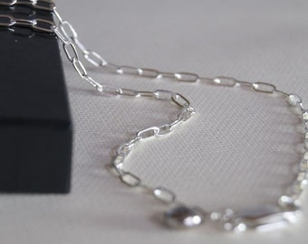 18 inch RECTANGLE Link Sterling Silver Chain