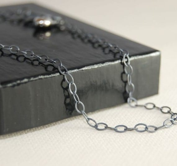 30 Inch OVAL Link Oxidized Sterling Silver Chain
