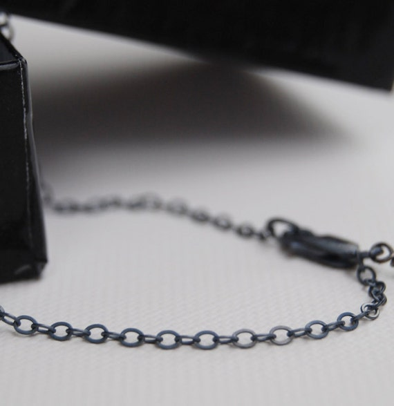20 Inch SMALL OVAL Link Oxidized Sterling Silver Chain