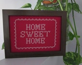 sweet home sweet home (red) framed cross stitched wall piece