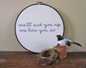 nursery decor - maurice sendak/wild thing quote - framed in the hoop embroidery art