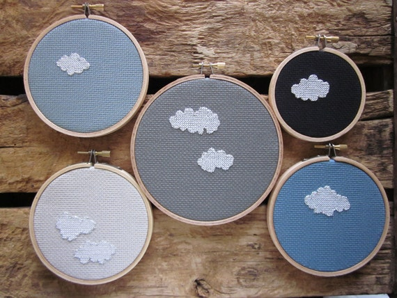 instant collection -- group of five unique silver-lined cloud pieces (embroidery in hoop)