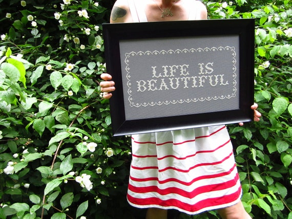 life is beautiful - framed modern embroidery