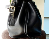 Vintage Coach Lula's Legacy Bucket Bag 9952 Duffle Drawstring Black Leather Tote Made in USA