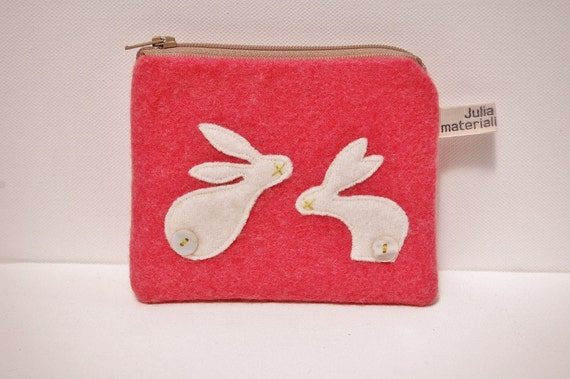 Purse - pink wool & white rabbits with button tails