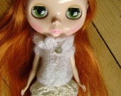 Blythe Doll Sweater Ruffle Neck Babydoll with Pearl Button in Snow White