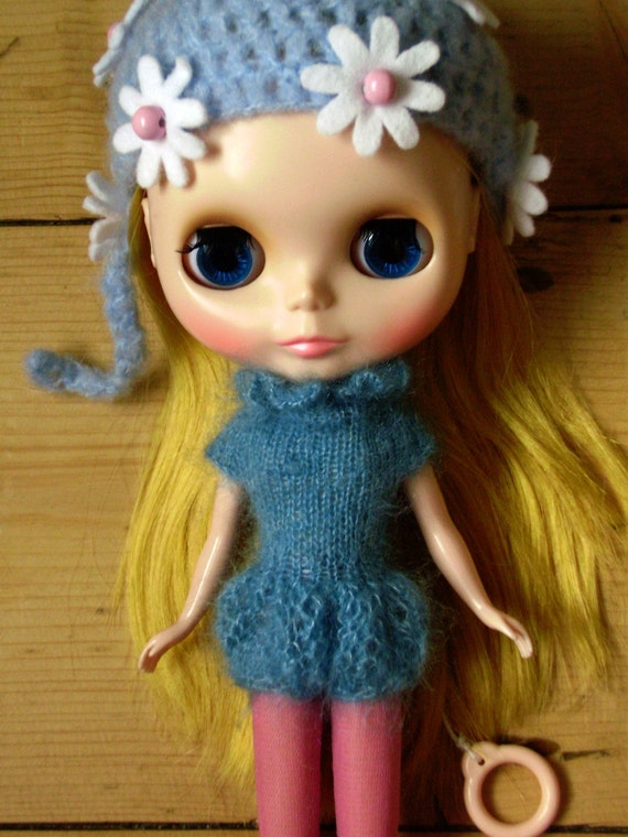 Lace Ruffle Romper for Blythe in Sky Blue