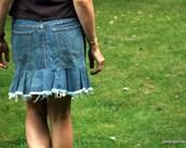 recycled denim flirty jean skirt