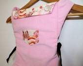 Adjustable Toy Doll Carrier/Soft Fabric Carrier Just Like Mom's Buckle Carrier/Handmade with Pink Corduroy and Alexander Henry Fairies Print