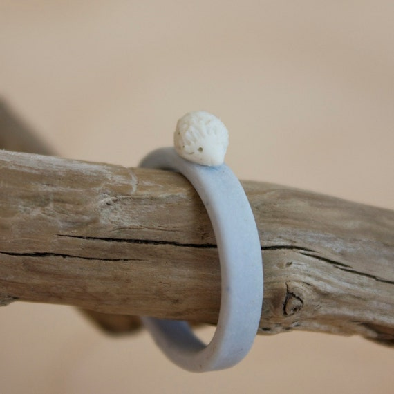 porcelain blue hedgehog ring