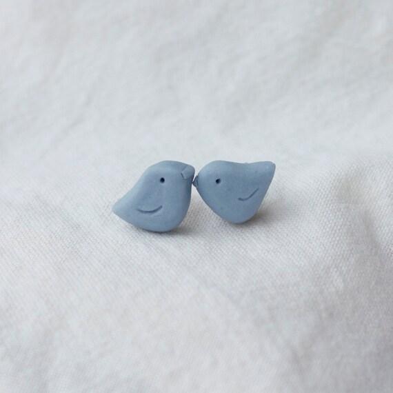 wee blue birds porcelain earrings