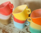 RESERVED for Song Suk Park.......................9 Colorful French Mugs Opale from France cup soup