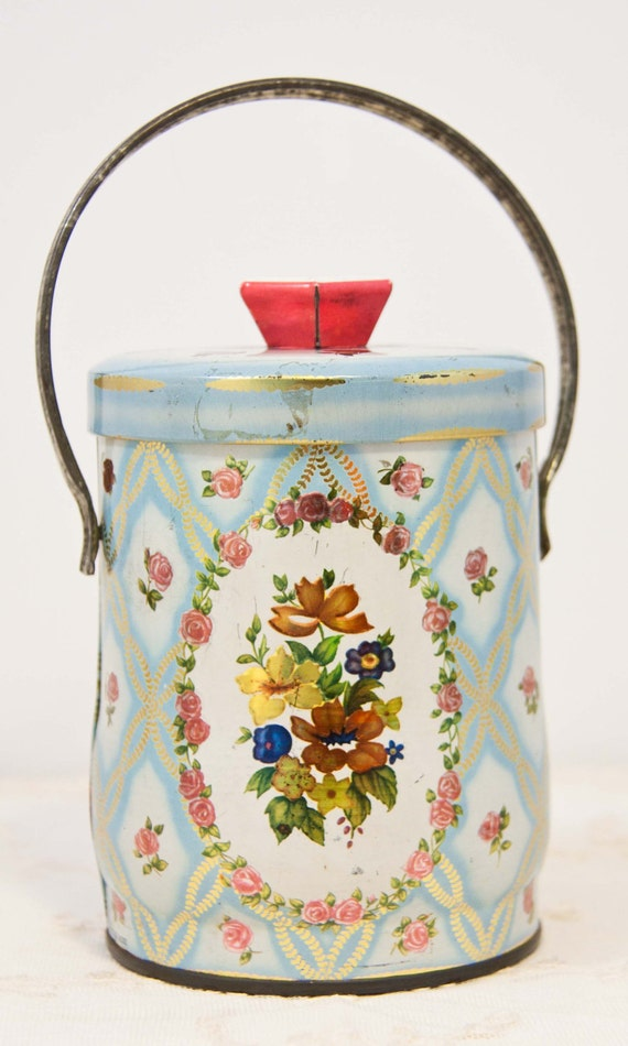 Shabby Chic English Tin Handle canister flowers floral tea tin candy chocolate tin