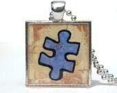 Puzzle Piece Pendant - Blue Autism Puzzle Pendant