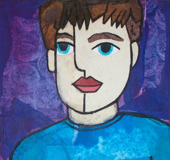 Good Brother Portrait - Original Boy Art, blue eyes, whimsical Mixed Media Collage Art on canvas, wall art decor, boy artwork, painting