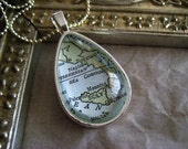 Map of Italy Teardrop Pendant Necklace