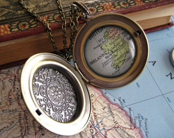Map Locket  Necklace Choose Your Journey
