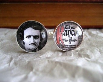 "Edgar Allan Poe ""The Raven"" Cufflinks Nevermore Silver Finish"