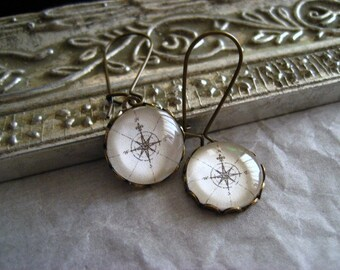 Long Compass Earrings in Brass
